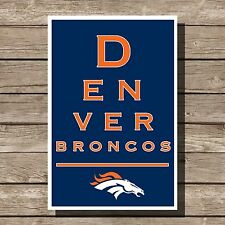Denver Broncos Art Football NFL Eyechart Poster Man Cave Decor 12x16""