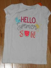 "NWT - Gymboree ""Mix n Match"" short sleeved white sparkly ""Summer Sun"" top - 4"