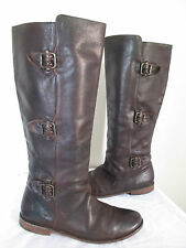$350 Frye Womens Buckle Horse Brown Antique Pull Up Paige Tall Riding Boots 7.5