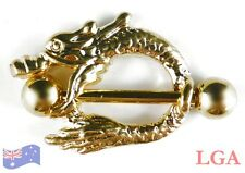 1 x Gold Pl Dragon Nipple Bar Shield Body Piercing Jewellery Male 14g 8mm hole