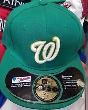 Green Washington Nationals New Era 59 Fifty Fitted Hat or Cap Size 7.5 or 7 1/2