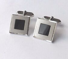 CUFFLINKS Brushed Steel Frame with Black Glass Inset Faces CLASSIC  FREE P&P