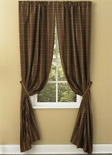 LINED CURTAIN PANELS 72X84 IN COUNTRY BROWN BLACK TAN PLAID TANNER PARK DESIGNS