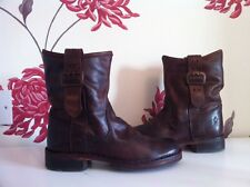 FLY LONDON BROWN LEATHER LADIES ANKLE BUCKLE BIKER BOOTS SIZE 4 UK 37 EU