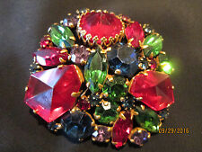 Vtg.  WEISS BROOCH   Multi-color Fruit Salad Open Back Abstract Rhinestone Pin