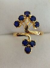 14k Solid Yellow Gold Flower Ring with Natural Sapphire Round Cut 2.40CT