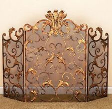 Tuscany Old World Antique Gold Iron Acanthus Leaf Fireplace Screen