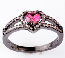 HOT Size8 Rose Love CZ Fashion Black 18K Gold Filled Rings 1.88ct Jewelry BB53