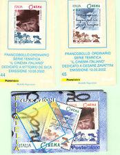 REPUBBLICA: 2002 DUE TESSERE FILATELICHE CINEMA, DE SICA E ZAVATTINI CON FOLDER