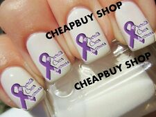 Top Quality》PANCREATIC CANCER AWARENESS LOGO》PURPLE RIBBON》Tattoo Nail Decals
