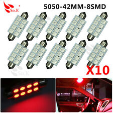 10 X 42MM 5050 8SMD Festoon Pure Red Interior Dome Door LED Light 569 578 DC 12V