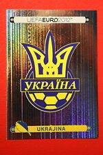 Panini EURO 2012 N. 398 UKRAJINA BADGE  NEW With BLACK BACK TOPMINT!!