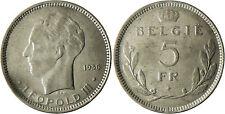 BELGIQUE  , LEOPOLD  III   ,  5  FR  BELGIE  1936 2