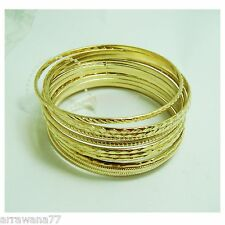 Set of 12 Multiple Bracelets Bangle 18K  22K 23K 24K Thai Baht Yellow Gold GP