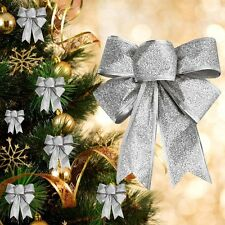 Silver Glitter Bow Bowknot Christmas Tree Ornaments Xmas Present Decoration