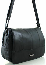 New Ladies Lorenz Real Leather Messenger Shoulder Across Body Bag Handbag Black