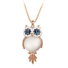 New Blue Eye Fashion Crystal Owl Pendant Chain Gold Sweater Long Necklace Gift