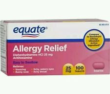 4x Allergy Relief Antihistamine Equate 25mg 100 Tablets Each (400 Tabs)