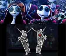 The Nightmare Before Christmas Jack Lisa Love Couple Pendant Metal Necklace Gift