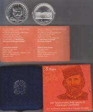 Italia Italy Italien 5 euro 200° anniversario nascita di Garibaldi 2007 silver