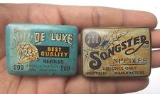 Two Vintage DELUXE & SONGSTER Gramophone Steel Needles TIN with Needles  ADV EHS