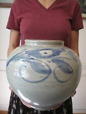 Korean Large Chosun Dynasty  Blue & White Bowl Jar in Perfect Condition