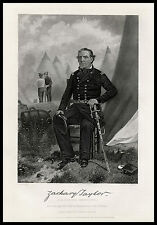 Zachary Taylor Mexican-American War Officer 1874 engraved portrait print