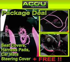 13 Pc Black Pink Dragon Logo Car Seat Covers Set Mats+Steering Cover+Harness Pad