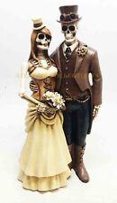 8 Inch Steampunk Skeleton Wedding Couple Statue Figurine, Brown