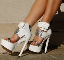 White Silver Snake Skin Strappy Open Toe Platform Stiletto Heel Shoes, US 5.5