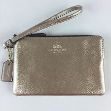 Coach Crossgrain Leather Corner Zip Wristlet Metallic Platinum