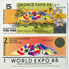 Set 2 diff. Australia scrip paper money World Expo 1988 Au-Unc. 2 and 5  Dollars