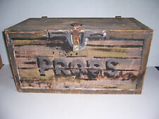 VINTAGE STAGE PROPS WOODEN  BOX CRATE WITH HINGED LID AND OLD TELEPHONE INSIDE