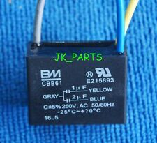 New BM CBB61 1uF+2uF 3 WIRE 250VAC Ceiling Fan Capacitor UL CERTIFIED