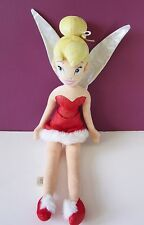 "Disney Store Tinkerbell Christmas soft toy doll fairy plush beanie 22"" red dress"