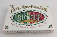 Vtg Bicycle Holiday Playing Cards Set in collector's Tin 2 poker decks 1 sealed