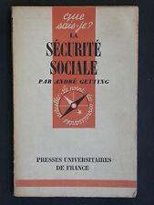 Sécurité Sociale QSJ 294 - 1955 Getting historique et risque assurance maladie