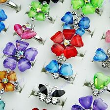 20p Crystal Resin Rhinestone Mix Flower Women Girls Rings Wholesale Jewelry Lots