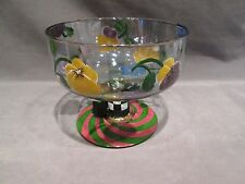 MACKENZIE CHILDS PANSIES PATTERN PEDESTAL FOOTED COMPOTE BEAUTIFUL (JT)