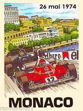 1974 Monaco Grand Prix Automobile Race Car Advertisement Vintage Poster
