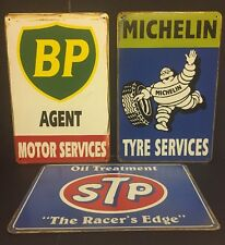 BP /Michelin / STP Vintage Retro Metal Sign Garage Bar Decor Set of 3