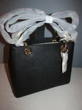 Michael Kors Cynthia Small North South Saffiano Leather Satchel Black Gold NWT