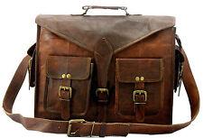Men's Genuine Vintage Leather Messenger Shoulder Laptop Briefcase Bag satchel