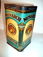 vintage 1924 Monarch Cocoa canister 16 oz. 6 in. tall w/tin top