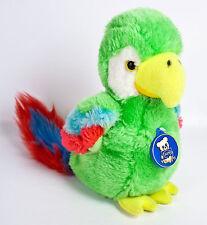 "Dakin Parrot Bird 8"" Plush Green Red Blue Stuffed Animal Chirping Sound Vtg 1981"