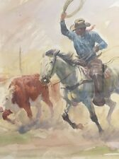 "Joe Beeler Watercolor  ""Cowboy Business"""