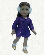 Doll Clothes Prp Sequin Skating Dress+Earmuffs+Skates fits 18 inch American Girl