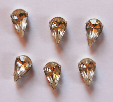 VINTAGE 6 GLASS BEADS SEW ON EMBELLISHMENT PEAR TEAR DROP 8x 13mm CRYSTAL CLEAR