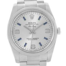 Rolex Air King Silver Dial Blue Hour Markers Mens Watch 114200