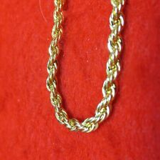 """7"""" 14KT GOLD EP 3MM ROPE FRENCH STYLE CHAIN BRACELET"""
